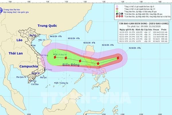 Siêu bão Goni di chuyển theo hướng Tây với sức gió mạnh cấp 12-13, giật cấp 15