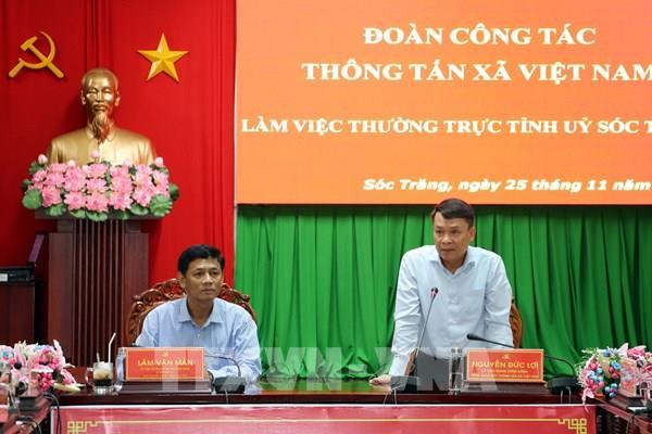 TTXVN hợp tác thông tin với thành phố Cần Thơ và tỉnh Sóc Trăng