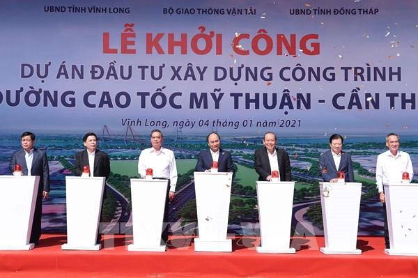 Thủ tướng phát lệnh khởi công xây dựng công trình đường cao tốc Mỹ Thuận - Cần Thơ