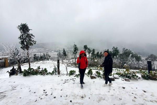 Xuất hiện mưa tuyết tại Sa Pa và Y Tý