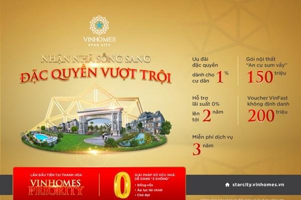 """Vinhomes Star City Thanh Hóa áp dụng chương trình """"Vinhomes Priority"""""""