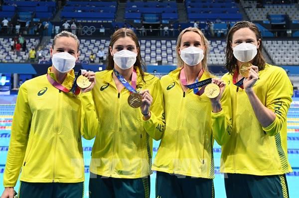 Olympic Tokyo 2020: Australia phá kỷ lục thế giới nội dung bơi nữ 4x100 mét tiếp sức tự do