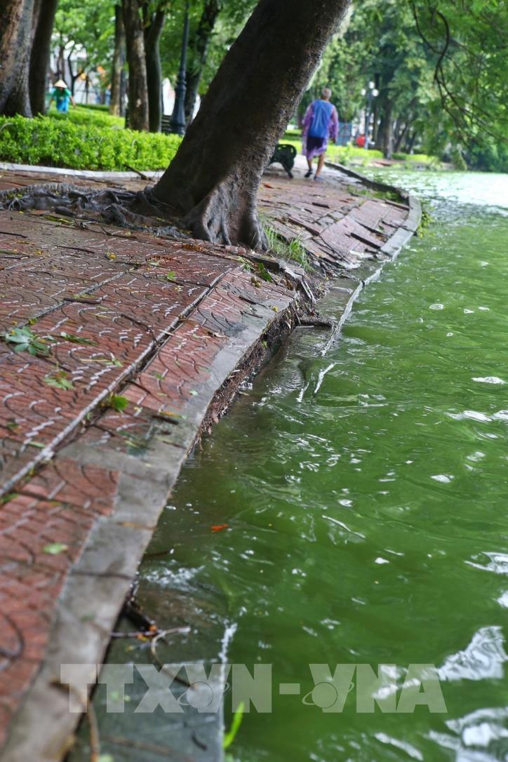 Bờ kè hồ Hoàn Kiếm bị sụt lún nghiêm trọng - hình 9
