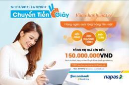 Khuyến mại lớn cho khách hàng chuyển tiền nhanh tại Sacombank