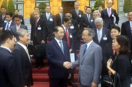 Chủ tịch nước Trần Đại Quang tiếp đoàn Ủy ban Kinh tế Nhật - Việt thuộc Keidanren
