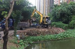 Thi công múc đất lấn chiếm hoàn nguyên hiện trạng hồ Ngòi, Hà Nội