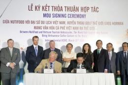 NutiFood hợp tác huyền thoại golf Greg Norman quảng bá cà phê Việt