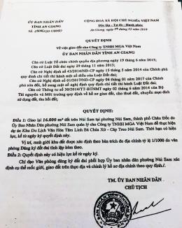 Xử lý Doanh nghiệp làm giả quyết định của Chủ tịch UBND tỉnh An Giang