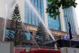 Diễn tập phòng cháy, chữa cháy tại tòa nhà Điện lực Hải Dương