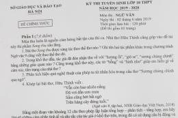 Đề thi Ngữ văn chính thức kỳ thi vào lớp 10 THPT Hà Nội