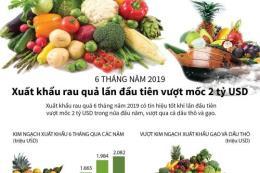 6 tháng năm 2019: Xuất khẩu rau quả lần đầu tiên vượt mốc 2 tỷ USD