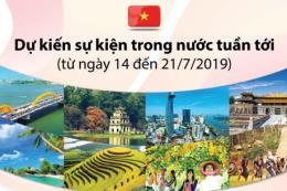 Dự kiến sự kiện trong nước từ ngày 14 đến 21/7/2019