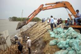 Cà Mau gấp rút xử lý sạt lở đê biển Tây