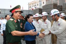 Chủ tịch Quốc hội Nguyễn Thị Kim Ngân kiểm tra tiến độ thi công Nhà Quốc hội Lào