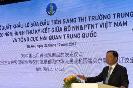Tập đoàn TH xuất khẩu lô sữa đầu tiên sang Trung Quốc
