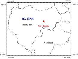 Động đất có độ lớn 2.7 gây rung lắc nhẹ trong đêm tại huyện Hương Sơn, Hà Tĩnh